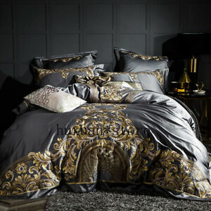 Luxury-600TC-Egypt-Cotton-Gray-Elegant-Bedding-Set-Embroidery-Duvet-Cover-Sheet