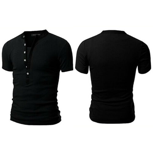Men/'s Slim Fit V Neck Short Sleeve Muscle Tee T-shirt Casual Tops Henley Shirts