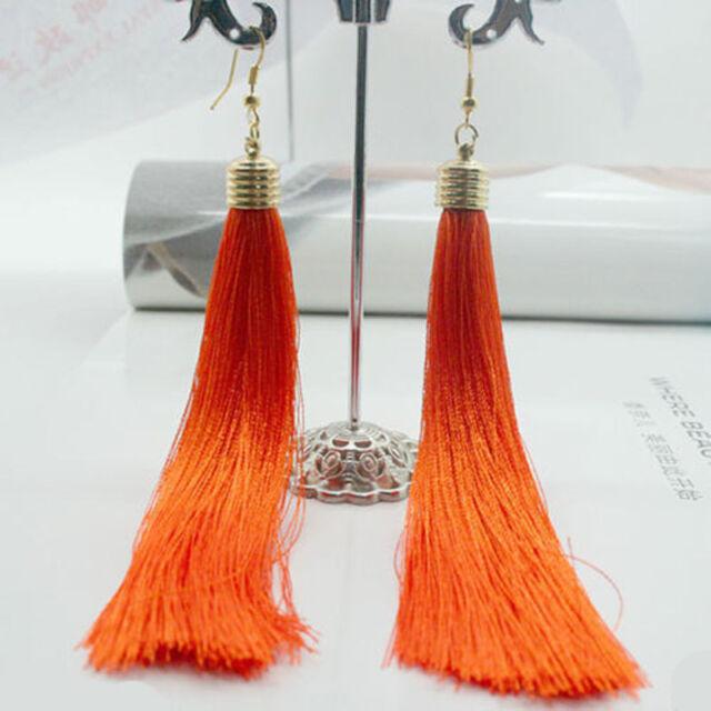 Vintage Bohemian Silk Yarn Long Thread Tassel Fringe Dangle Drop Earring 13cm