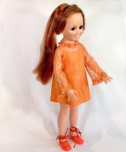 "Vintage 1968/69 Ideal CRISSY Doll Original Orange Dress Shoes 18.5"" Growing Hair"
