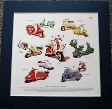 Classic Scooter of the 50s/60s Stunning Artwork Print Lambretta/BSA/Zundapp