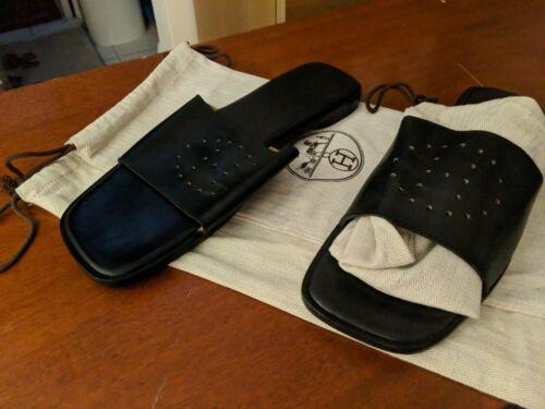 Hermes Black Leather Men's Sandals PreOwned Size E