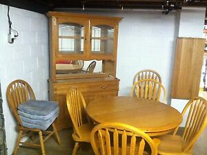 Details about Solid Oak fine dining room set with 8 pieces 6 chairs table  and cabinet
