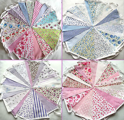 Fabric Bunting Wedding Vintage Shabby & Chic Handmade Floral Lace 200ft /60m