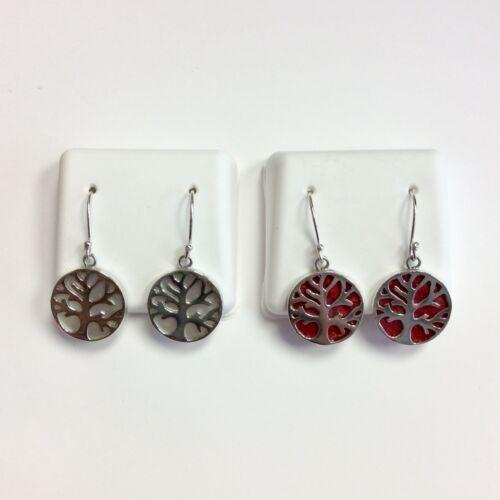 Véritable Argent Sterling arbre de vie Symbole Cercle Forme Gemme Dangle Earrings