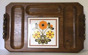 Details About Vintage Mid Century Wood Ceramic Cheese Tray Board With Handles Solid Wood