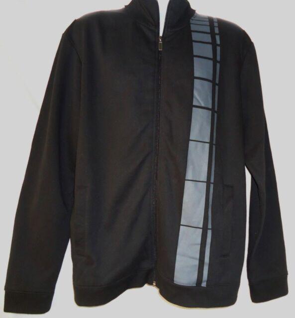 2f1ecef5c71 Alfani Black Cotton Blend Warm up Jacket XL Vertical Stripe