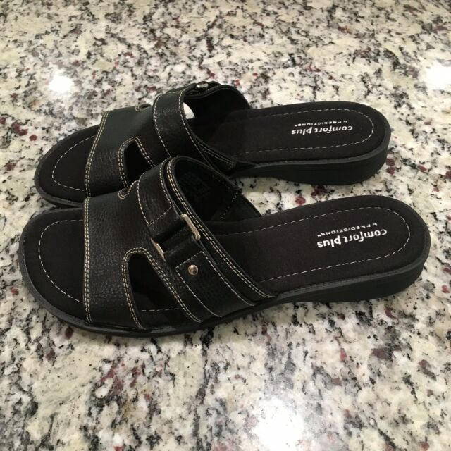 Comfort Plus Women's Black Slip On Sandals Slides Size 9.5 W