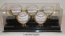 ACRYLIC FIVE 5 BASEBALL DISPLAY CASE with GOLD GLOVES