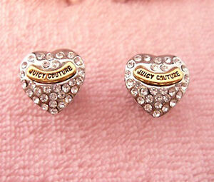 Image Is Loading Auth Juicy Couture Pave Heart Stud Earrings 45