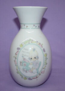 """Vintage 1991 Precious Moments 6-1/4"""" Flower Vase  """"Praise The Lord Anyhow"""""""