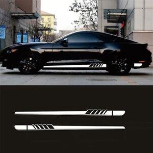 2X Car Racing White Long Stripe Graphics Side Body Vinyl Decal Sticker Universal