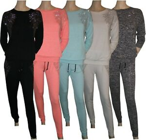 Ladies-Womens-Diamante-Wings-Marl-2-Piece-Track-Suit-Joggers-Activewear-10-to-16