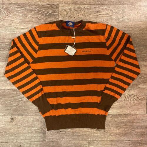 Dickies Homme Rayé Tricot Pull Ras Du Cou Cardigan orange marron coupe régulière