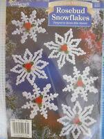 Vintage Rosebud Snowflake Christmas Ornaments Plastic Canvas Needlepoint Kit