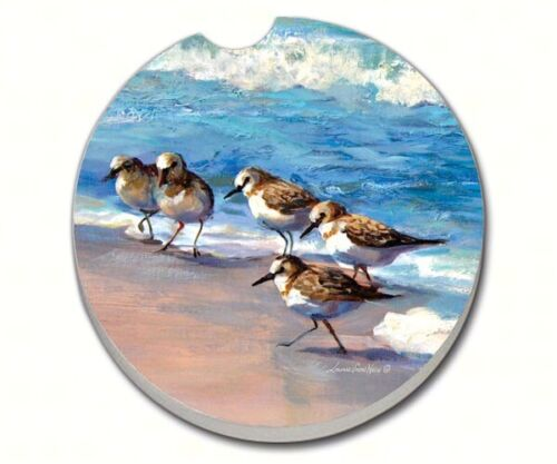 SANDPIPERS Bird Nautical 1 Absorbent Auto Car Stone Coaster for Cup Holders