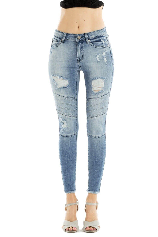 KanCan Sharon Distressed Mid Rise Moto Ankle Skinny Jeans Medium Wash KC6162M