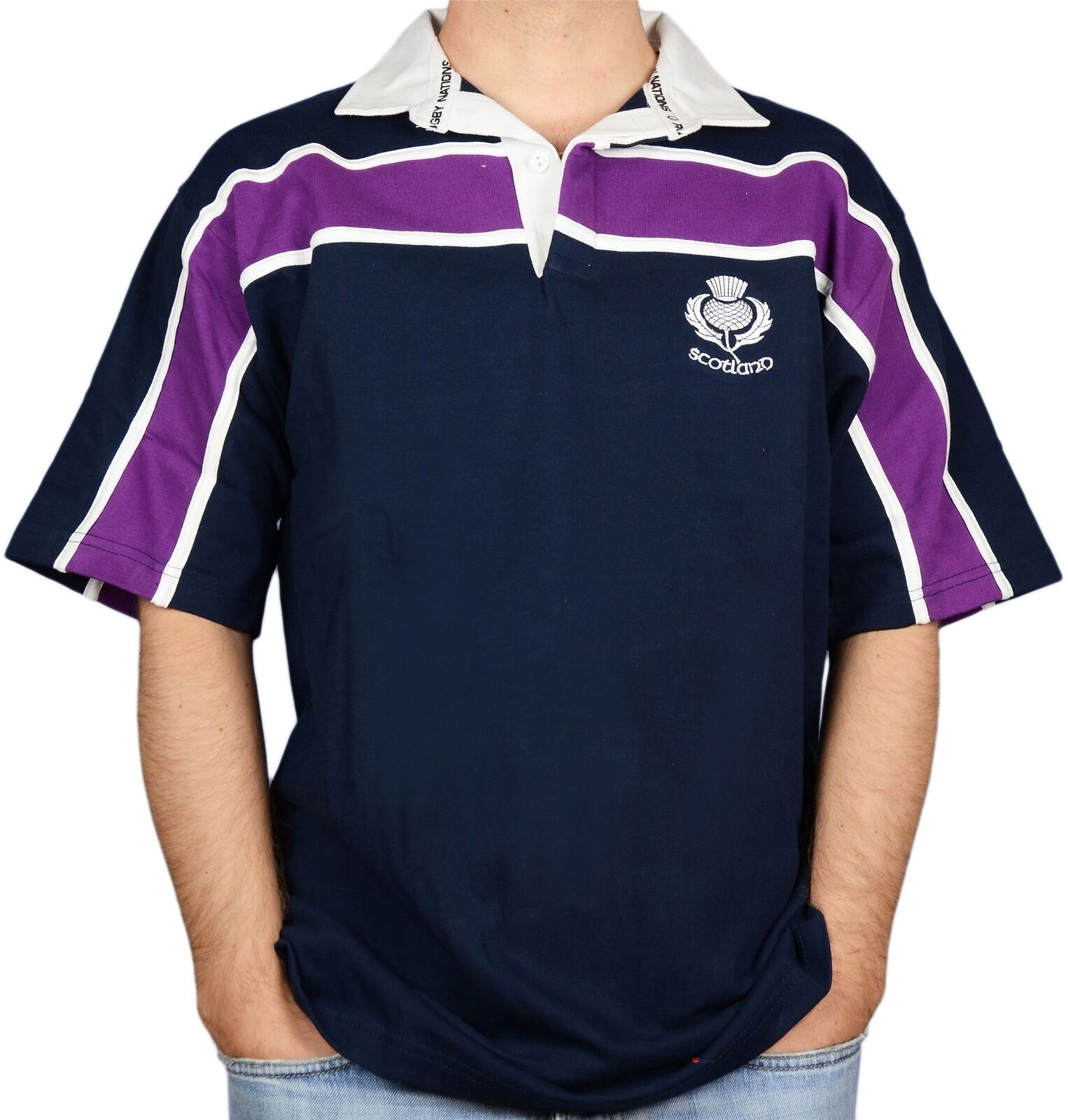 Scottish Mens Rugby Shirt lila Stripe Thistle Logo Short Sleeve Navy X-Large
