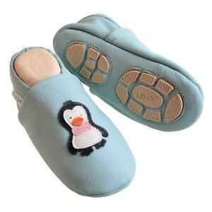 Liya's Krabbelschuhe Hausschuhe Lederpuschen - #621 Pinguin in babyblau