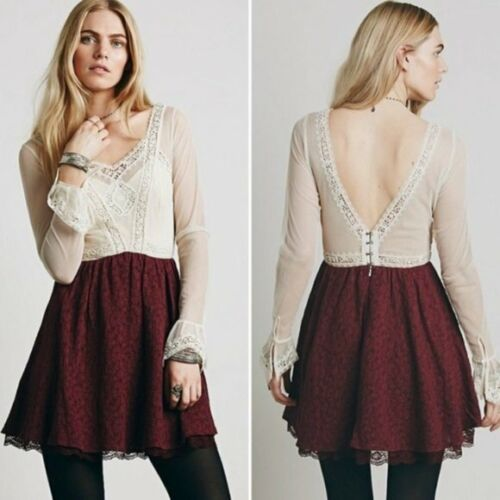 Free People V is for Victorian Lace Mini Dress Lon