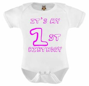 Personalised Baby Vest Bodysuit Funny Humorous It/'s My First Birthday Pink
