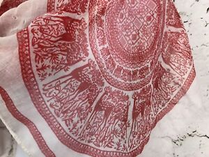 """Boho Summer Lightweight Scarf White with Red Medallion Deer Print 75x18"""""""