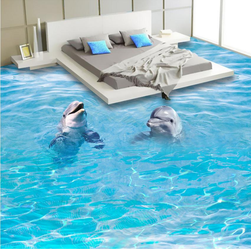 3D Two dolphins sea 132 Floor WallPaper Murals Wall Print Decal 5D AJ WALLPAPER