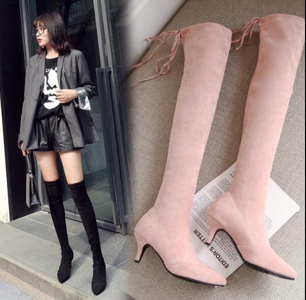 donna Suede Over Knee High Thigh Stretch Socks stivali Pointed Toe Stilettos G235