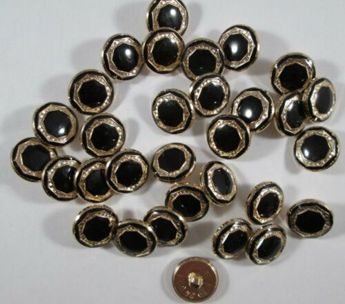 Bouton Boutons 30 Pièce Noir or boutons 15,5 mm grand #2112#