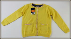 Girls-Knit-Cardigan-Pastel-Yellow-Sweater-Cotton-Rich-12-24-Months-2-4-Years