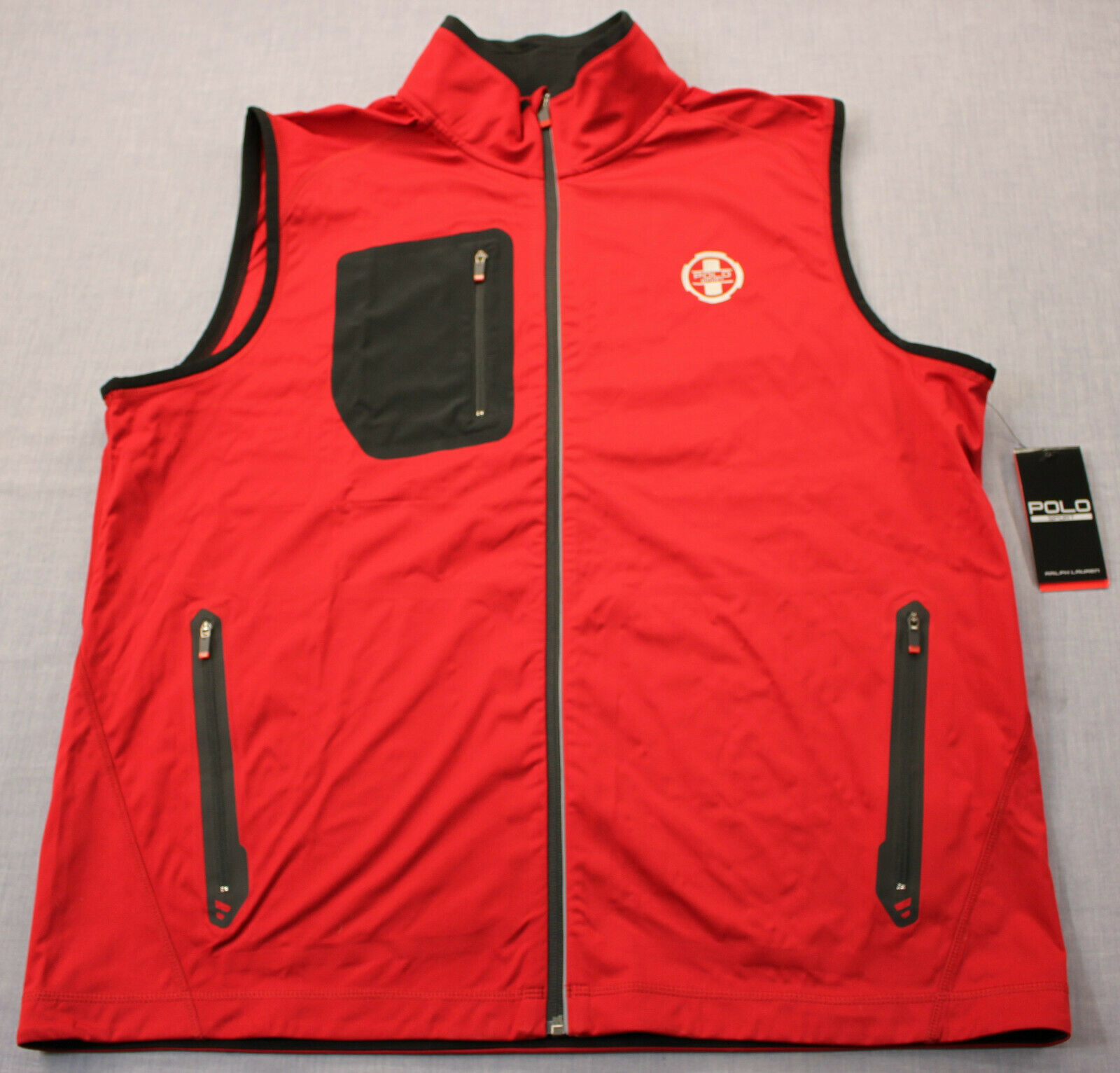 Ralph Lauren Polo Sport Mens Red Reflective Airflow Full Zipper Vest NWT XL