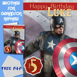 CAPTAIN AMERICA PERSONALISED Birthday Card Son Brother Nephew