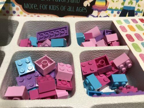LEGO Lot Of 50 Bubble Gum Color Pinks Blues  Lavender Purple All Bricks Mix