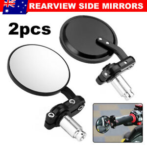 2X-Motorcycle-Black-7-8-034-Round-Bar-End-Rear-Mirrors-Motorbike-Scooter-Cafe-Racer