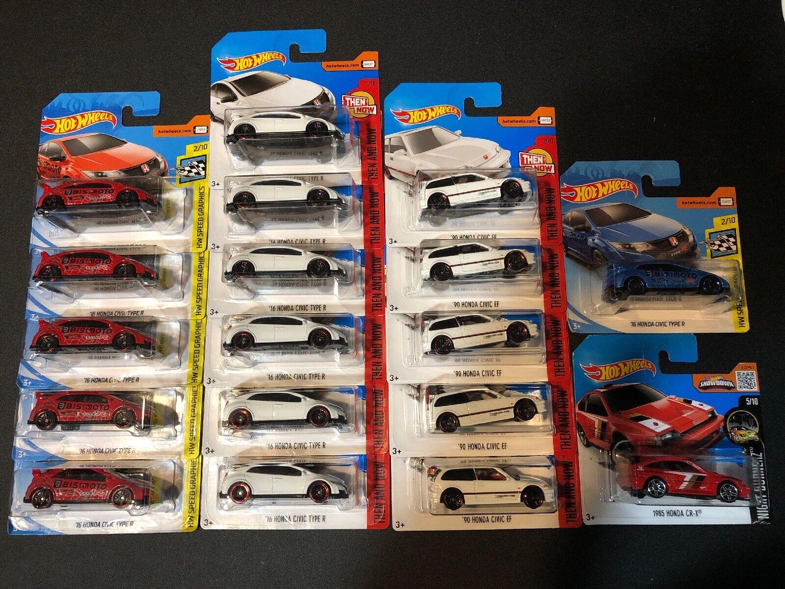 Hot Wheels Honda Lot de 18 voitures. tous court cartes    Type R, Civic EF, & CR-X.
