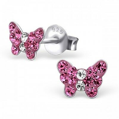 Childrens Sterling  Silver Butterfly Stud Earrings with Pink Crystals - Boxed