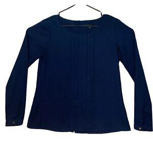 Van-Heusen-Medium-Navy-Blue-Dress-Shirt-Button-Up-Long-Sleeve