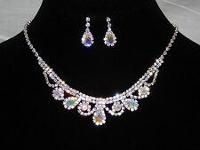 Bridal Silver Clear, AB Iridescent Rhinestone Crystal Necklace, Earrings Set
