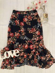 Hope & Ivy UK 8 black floral ruffled midi blogger fav skirt pencil summer loose