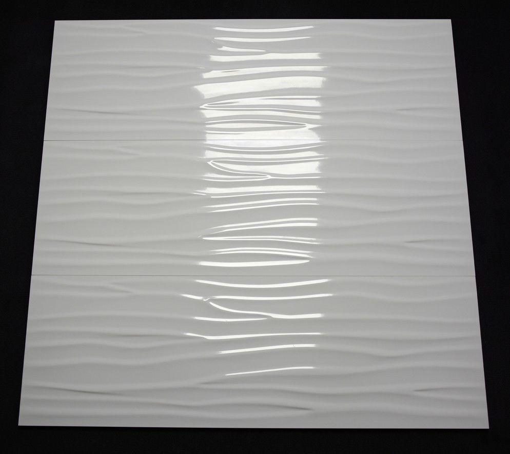 Dekor Wandfliese Cifre Glaciar Wave Welle brillo relief weiß glänzend 30 x 90