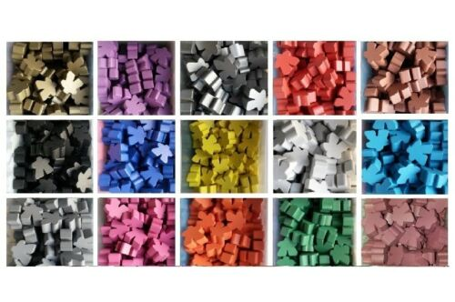 Games Accessories: Meeples - Wooden Meeples 16mm x 15 Different Colours (1 Each)