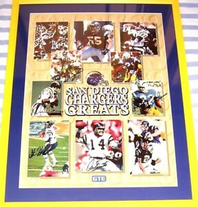 Chargers-Greats-autographed-signed-poster-framed-Lance-Alworth-Junior-Seau-Fouts
