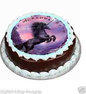 Edible Cake Images Horses : Black horse unicorn birthday Cake topper edible image ...