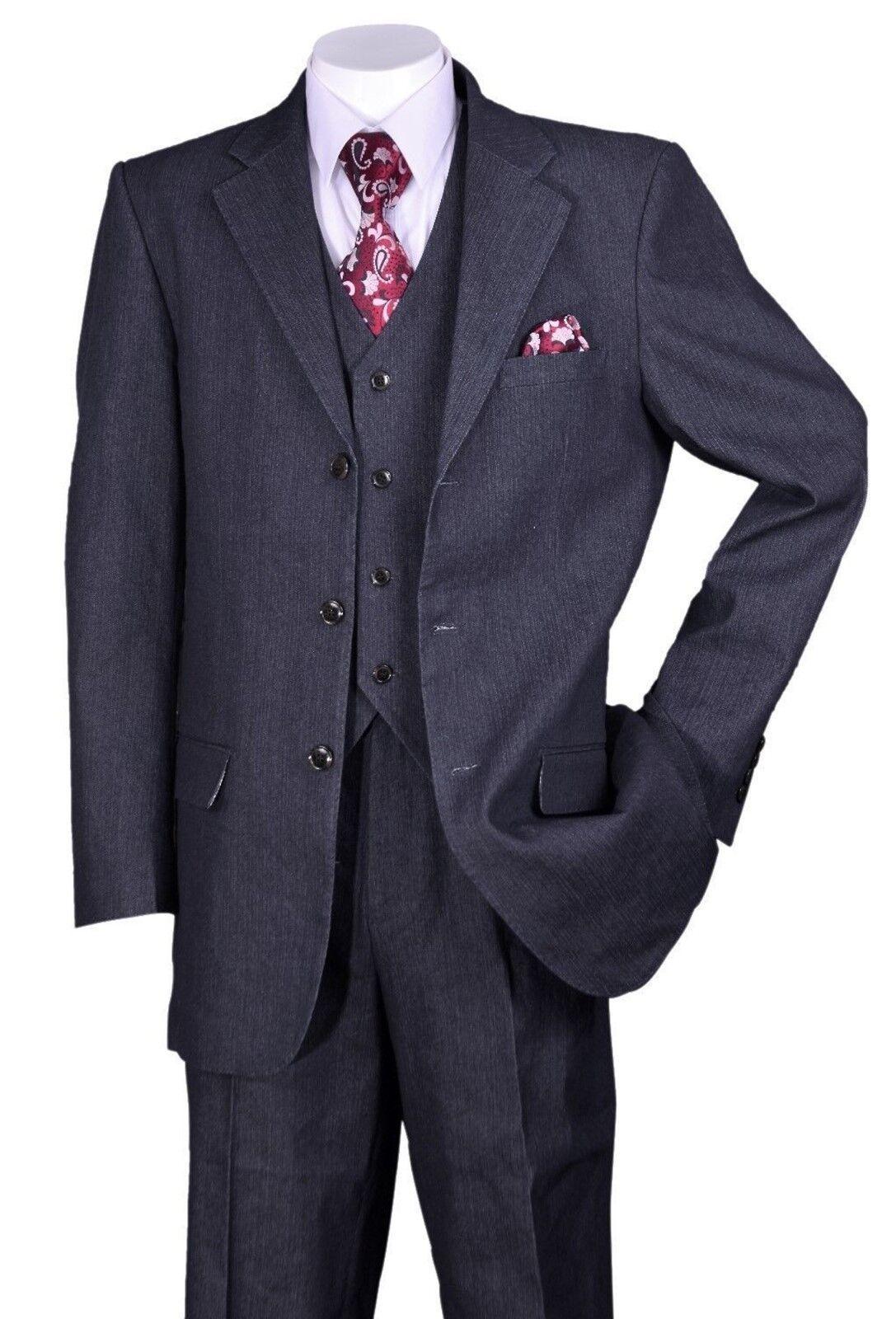 Fortino Landi Men/'s Trendy Denim 3 Buttons Suit w// Pants Vest Black//Navy 5287V