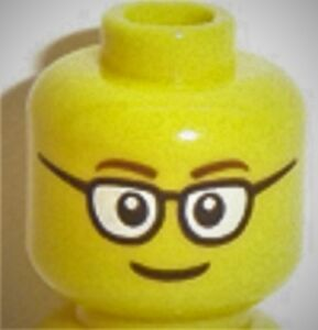 x1 NEW Lego Yellow Minifig Male Head W// Glasses /& Smile