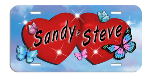 Butterflies Red Hearts Auto License Plate Personalize Gift Lovers Any Name Text