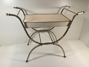 Vintage Gold White Cushioned Vanity Dressing Table Bench Mid Century Mo