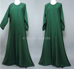 Dubai-Abaya-Classic-Open-Everyday-Muslim-Women-Dress-Nida-Emerald-Green
