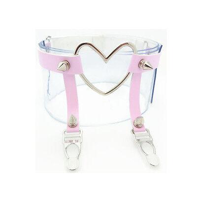 Handmade Big Heart Spikes Adjustable Single ROW Leather Leg Harness Garter Belt