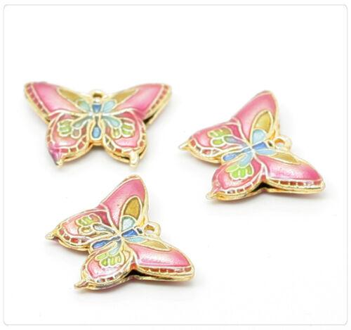 2x Métal CLOISONNE EMAUX Perles Papillon Bijoux À faire soi-même 20x15mm Rose cb043